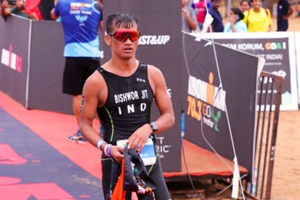 Bishworjit Singh Saikhom of the Indian Army wins India's 1st ever Ironman 70.3 triathlon