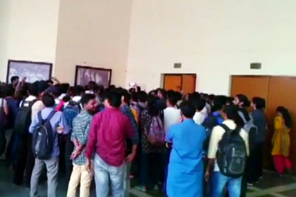 Vice President and students were performing outside in JNU auditorium