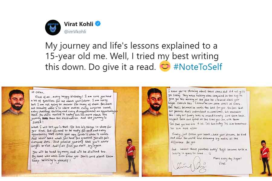 Virat Kohli's message to himself on his 31st birthday