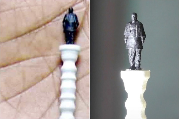 Surat based STPL3D 3D Prints World Smallest Replica of the Statue of Unity