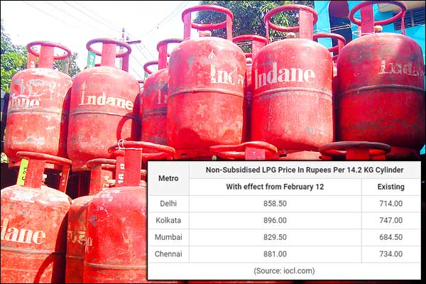 Price of non-subsidised LPG increased by Rs 144.5 in Delhi