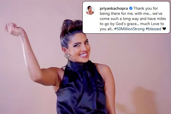 Priyanka Chopra emerged as the first female Indian celeb to achieve 50 million followers on Instagra