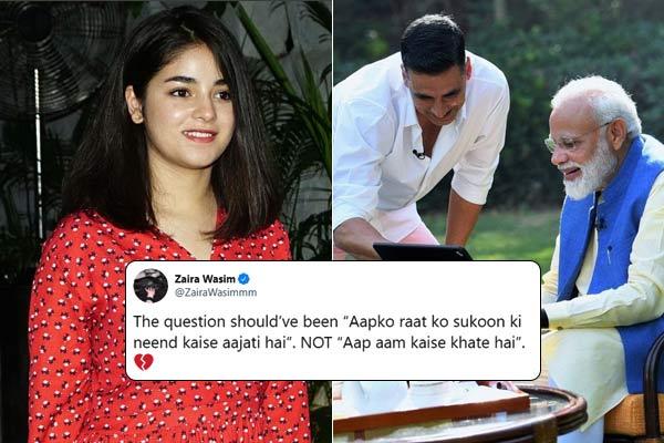Zaira Wasim slams Akshay Kumar interview with PM Modi over mangoes