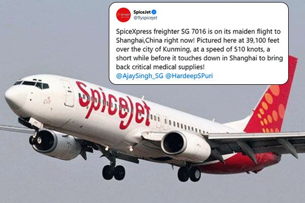SpiceJet freighter flight to bring medical supplies from Shanghai to Hyderabad