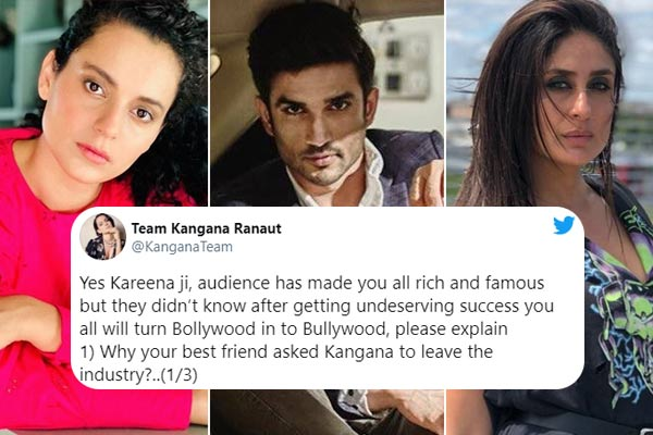 Kangana Ranaut team blames Kareena Kapoor Khan & star kids for Sushant murder